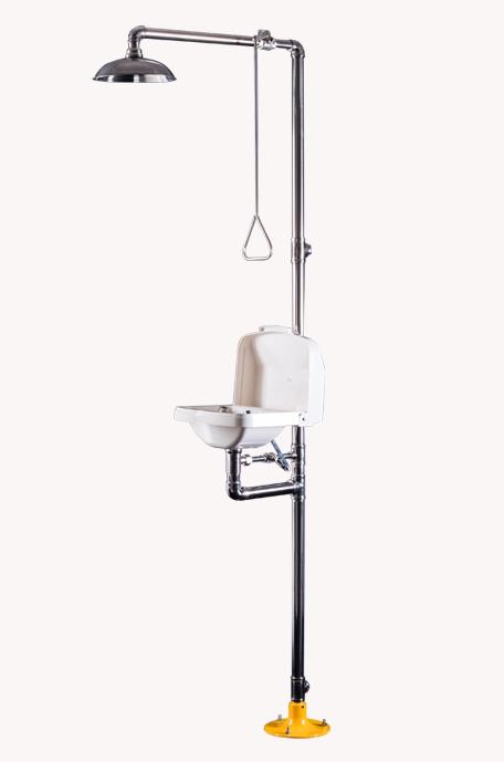 BH30-2010复合式联动翻盖洗眼器(白色大翻盖型)